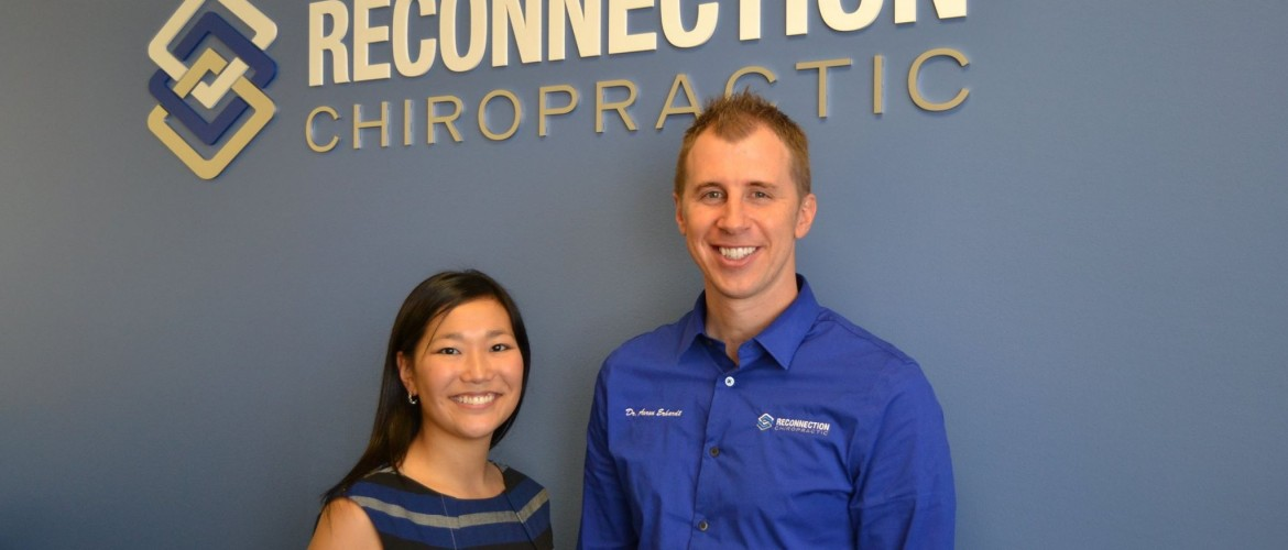 Dr. Erhardt and Kate in the Reconnection Chiropractic Clinic